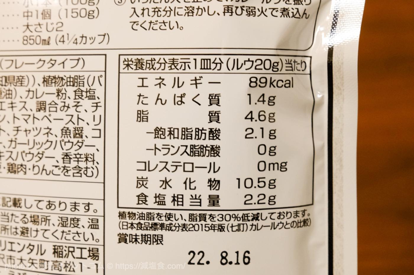 米粉カレールウ 塩分